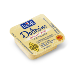 Grated Grana Padano cheese in single-serving tubs