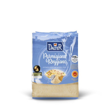 Grated Parmigiano Reggiano cheese in bag
