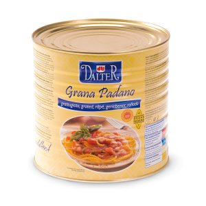 Grated Grana Padano cheese in tin